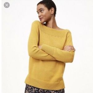 LOFT Mustard Boat Neck Sweater-M